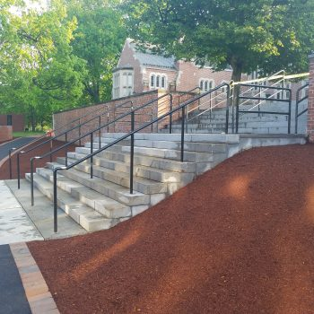 Black powder coated metal handrails at St. Paul's School